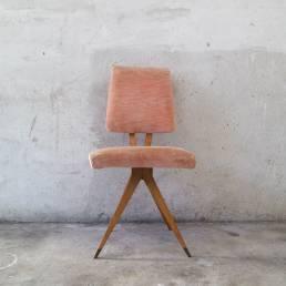 Velvet Wood Armchair 1950